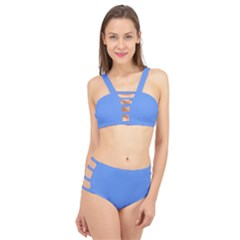 True Cornflower Blue Color Cage Up Bikini Set