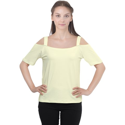 True Cream Color Cutout Shoulder Tee by SpinnyChairDesigns