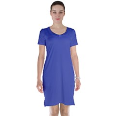 Dark Slate Blue Color Short Sleeve Nightdress