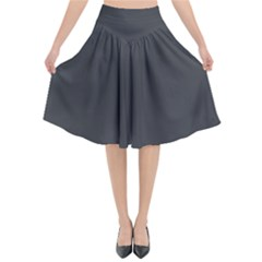 Dark Slate Grey Color Flared Midi Skirt