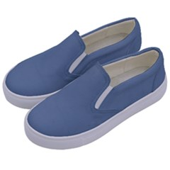 Faded Denim Blue Color Kids  Canvas Slip Ons by SpinnyChairDesigns