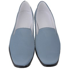 Faded Denim Blue Color Women s Classic Loafer Heels