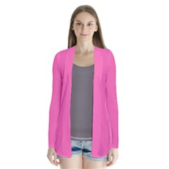 Hot Hollywood Pink Color Drape Collar Cardigan by SpinnyChairDesigns
