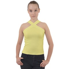 True Lemon Yellow Color Cross Neck Velour Top by SpinnyChairDesigns