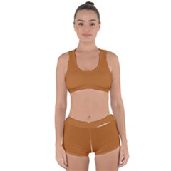 True Light Brown Color Racerback Boyleg Bikini Set