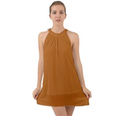 True Light Brown Color Halter Tie Back Chiffon Dress by SpinnyChairDesigns