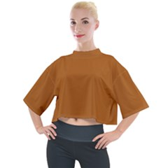 True Light Brown Color Mock Neck Tee by SpinnyChairDesigns
