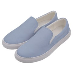 Light Steel Blue Color Men s Canvas Slip Ons by SpinnyChairDesigns