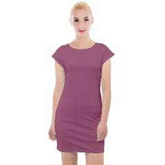 Dark Mauve Color Cap Sleeve Bodycon Dress
