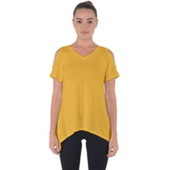 True Mustard Yellow Color Cut Out Side Drop Tee