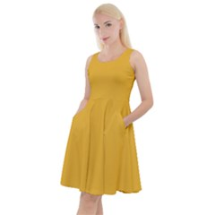 True Mustard Yellow Color Knee Length Skater Dress With Pockets