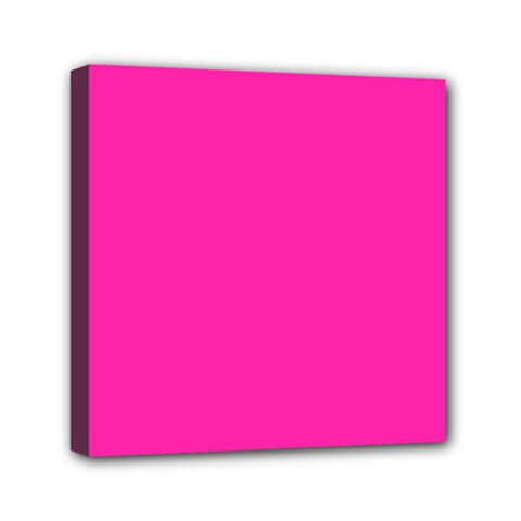 Neon Pink Color Mini Canvas 6  X 6  (stretched)