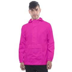 Neon Pink Color Men s Front Pocket Pullover Windbreaker by SpinnyChairDesigns
