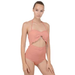 True Peach Color Scallop Top Cut Out Swimsuit
