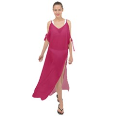 Rose Red Color Maxi Chiffon Cover Up Dress