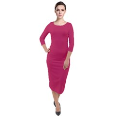 Rose Red Color Quarter Sleeve Midi Velour Bodycon Dress by SpinnyChairDesigns