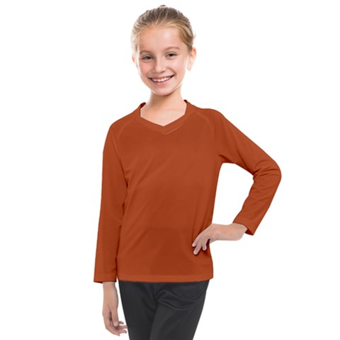 True Rust Color Kids  Long Mesh Tee by SpinnyChairDesigns