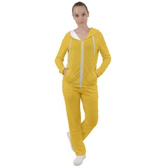 True Saffron Yellow Color Women s Tracksuit by SpinnyChairDesigns