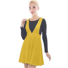 True Saffron Yellow Color Plunge Pinafore Velour Dress