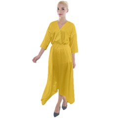 True Saffron Yellow Color Quarter Sleeve Wrap Front Maxi Dress by SpinnyChairDesigns