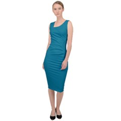 True Teal Blue Color Sleeveless Pencil Dress