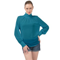 True Teal Blue Color High Neck Long Sleeve Chiffon Top by SpinnyChairDesigns