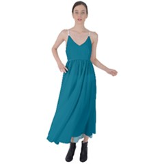 True Teal Blue Color Tie Back Maxi Dress by SpinnyChairDesigns