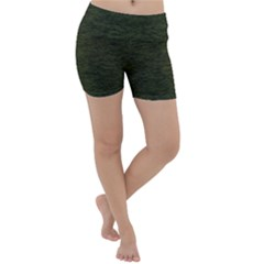 Army Green Color Textured Lightweight Velour Yoga Shorts