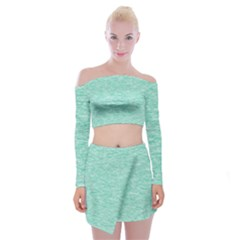 Biscay Green Texture  Off Shoulder Top With Mini Skirt Set