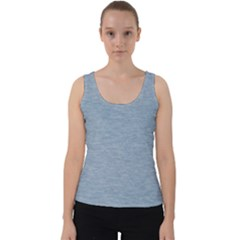 Faded Denim Blue Texture Velvet Tank Top