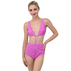 Neon Pink Color Texture Tied Up Two Piece Swimsuit