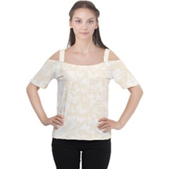 Champagne And White Butterflies Batik Cutout Shoulder Tee