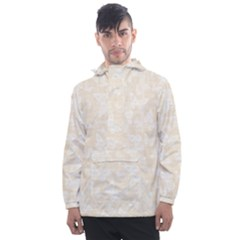 Champagne And White Butterflies Batik Men s Front Pocket Pullover Windbreaker