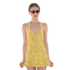 Saffron Yellow Butterflies Batik Halter Dress Swimsuit  by SpinnyChairDesigns