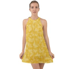 Saffron Yellow Butterflies Batik Halter Tie Back Chiffon Dress