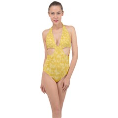 Saffron Yellow Butterflies Batik Halter Front Plunge Swimsuit by SpinnyChairDesigns
