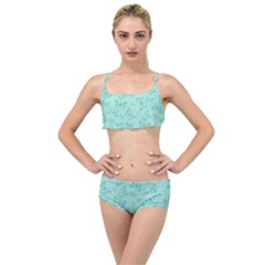 Biscay Green Monarch Butterflies Layered Top Bikini Set