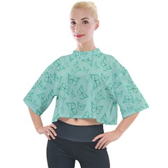 Biscay Green Monarch Butterflies Mock Neck Tee by SpinnyChairDesigns