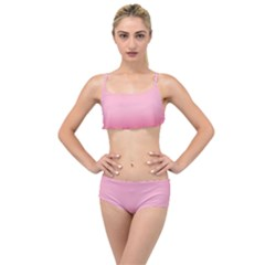 Blush Pink Color Gradient Ombre Layered Top Bikini Set