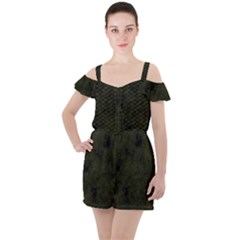 Army Green Color Grunge Ruffle Cut Out Chiffon Playsuit