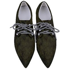 Army Green Color Grunge Pointed Oxford Shoes