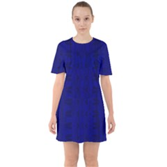 Cobalt Blue Color Batik Sixties Short Sleeve Mini Dress