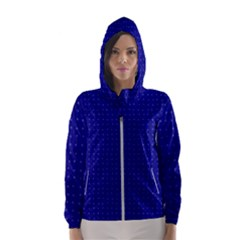 Navy Blue Color Polka Dots Women s Hooded Windbreaker by SpinnyChairDesigns