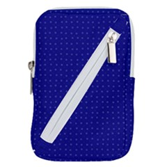Navy Blue Color Polka Dots Belt Pouch Bag (large) by SpinnyChairDesigns