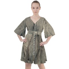 Abstract Tan Beige Texture Boho Button Up Dress by SpinnyChairDesigns
