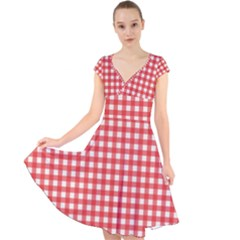 Red White Gingham Plaid Cap Sleeve Front Wrap Midi Dress by SpinnyChairDesigns