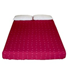 Rose Pink Color Polka Dots Fitted Sheet (queen Size) by SpinnyChairDesigns