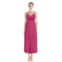 Rose Pink Color Polka Dots Button Up Chiffon Maxi Dress by SpinnyChairDesigns