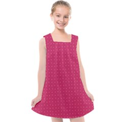 Rose Pink Color Polka Dots Kids  Cross Back Dress by SpinnyChairDesigns