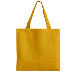 Saffron Yellow Color Polka Dots Zipper Grocery Tote Bag by SpinnyChairDesigns